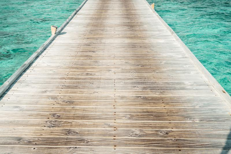 Wood walk way with ocean. Wood walk way with blue ocean stock photo