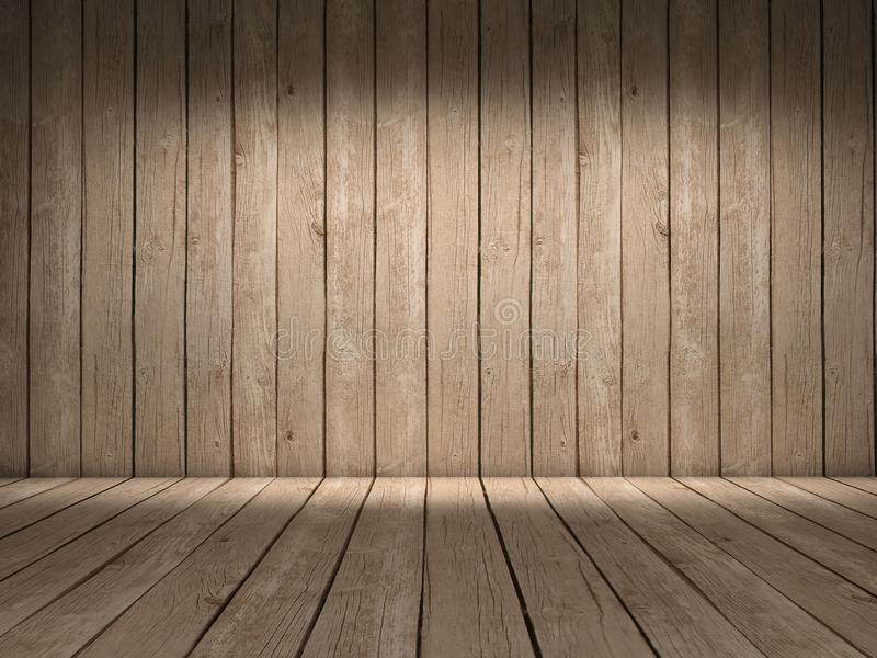 Wood wall and floor. Room with wood wall and wood floor with beautiful light royalty free illustration