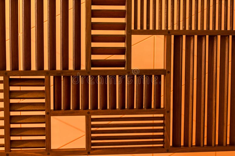 Wood wall used in home decor. From Thailand royalty free stock photo
