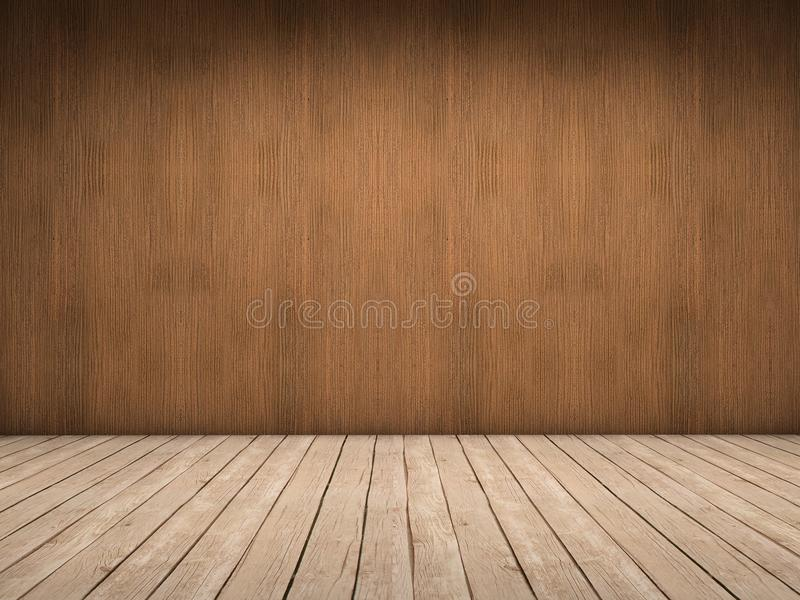 Wood wall and wood floor. Room with wood wall and wood floor with beautiful light royalty free illustration