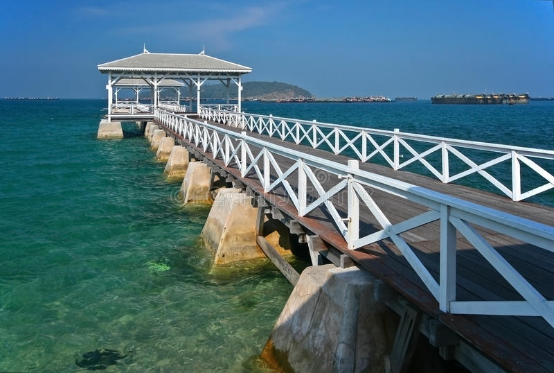 Wood waterfront pavilion Thailand. Wood waterfront pavilion at Sichang island Thailand royalty free stock photography