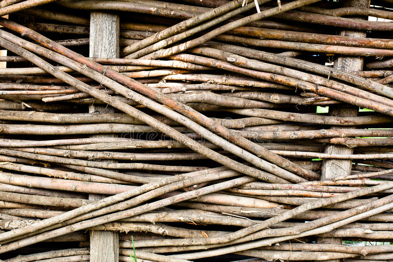 Wood weave. Rustic fence, wooden backgound stock photography