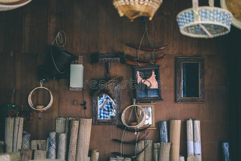 Wood weaving store stock image