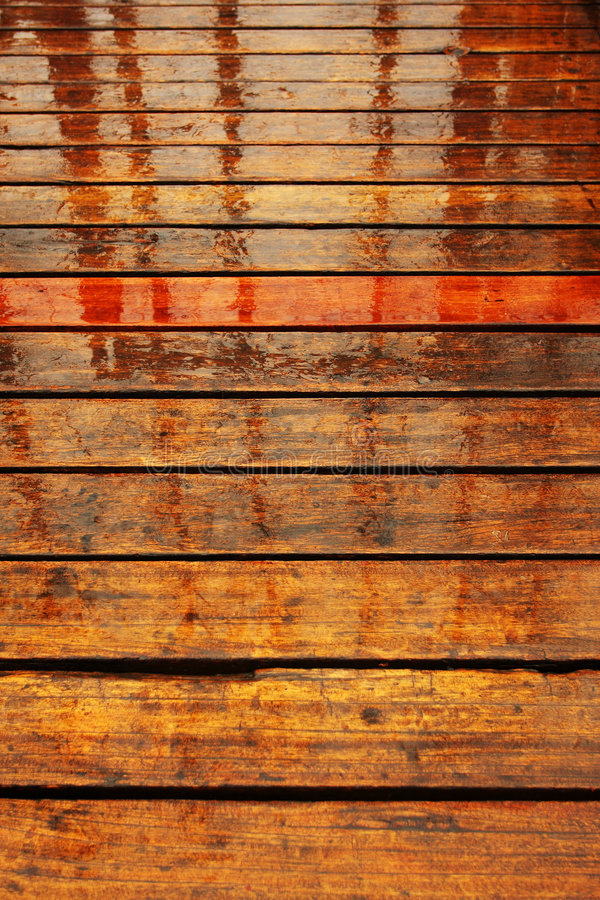 Wood Wet Floor Rain Royalty Free Stock Photography