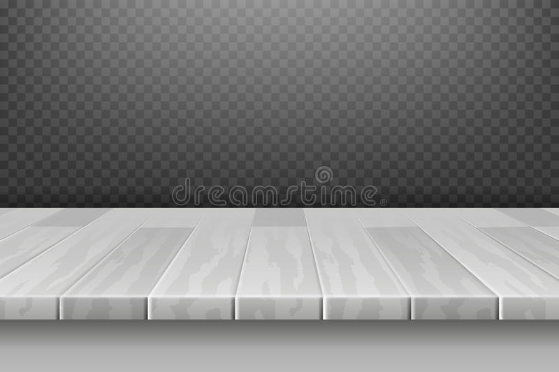 Wood white desk, table top surface in perspective on plaid backdrop vector illustration. Board table surface, hardwood frame table panel vector illustration