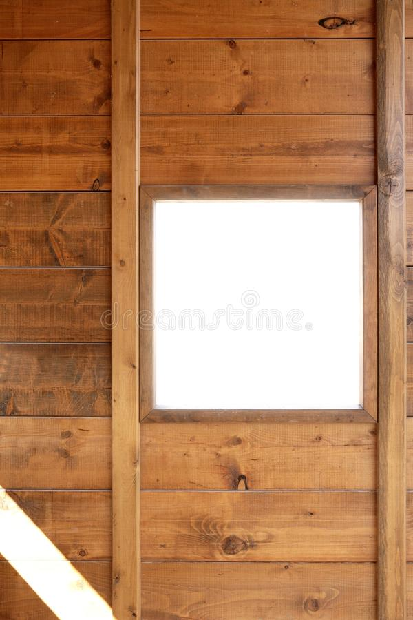 Wood window wall with copyspace