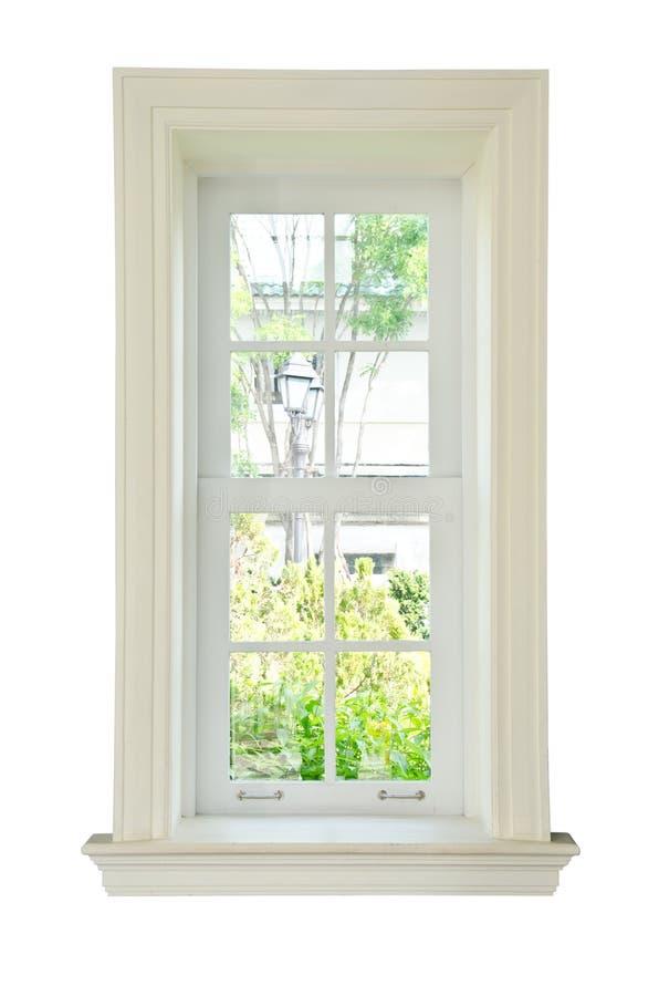 Wood window white frame stock photography