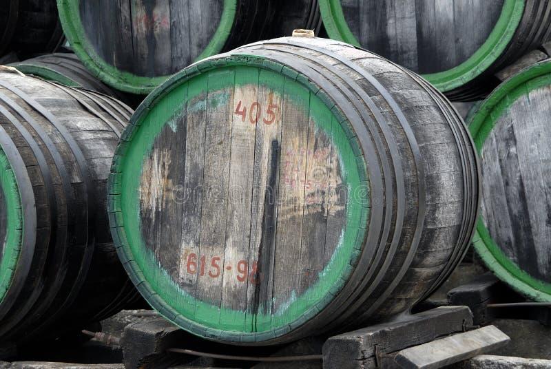 Wood wine barrels stock image