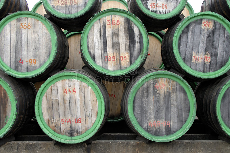 Wood wine barrels (face view) royalty free stock photography