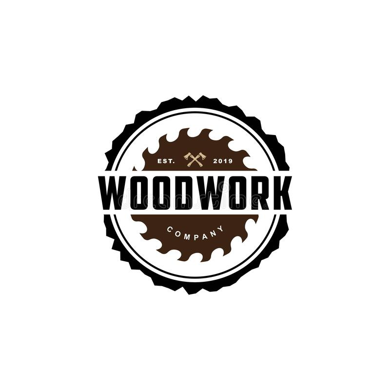 Free Wood Work Logo Design Template.creative Badge For Woodwork Company.Carpentry Logo Inspiration Stock Images - 195315914