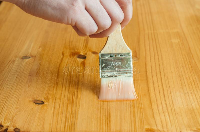 Wood working. Oiling a wood surface with a brush stock photos