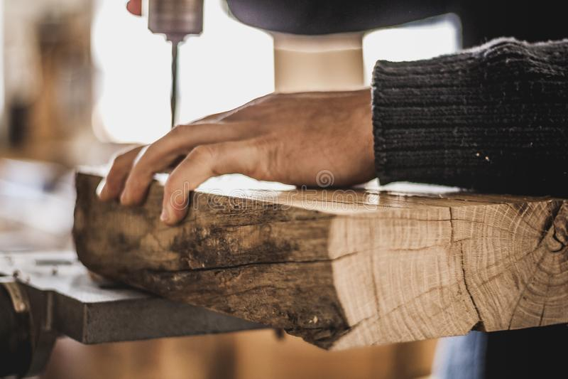 Woodworking art, an honest occupation within a sustainable lifestyle. Carpentry and cutting. royalty free stock image
