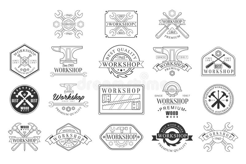 Wood Workshop Black And White Emblems. Classic Style Vector Monochrome Graphic Design Logo royalty free illustration