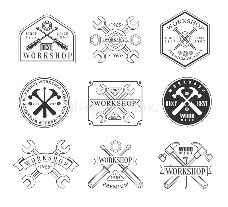 Wood Workshop And Emblems royalty free illustration