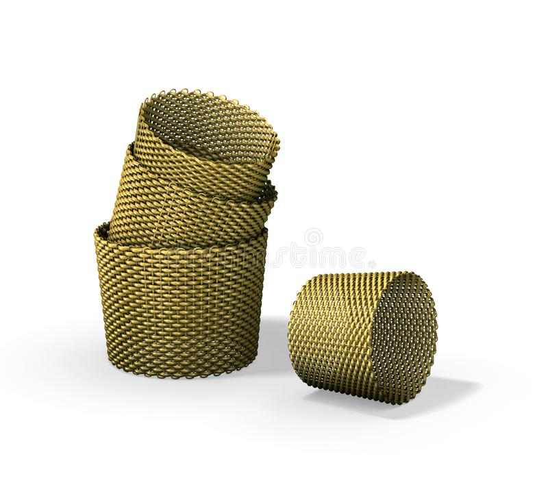 Download Wood woven baskets stock illustration. Illustration of decorative - 14750532