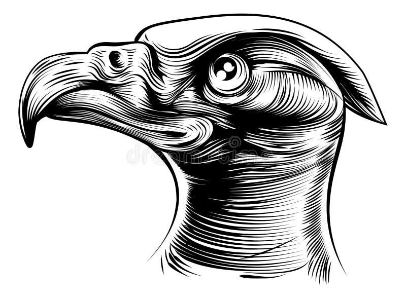 Woodblck Eagles huvud vektor illustrationer