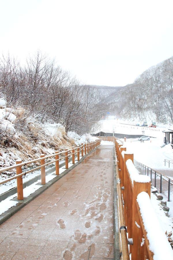 Woodbridge Jigokudani in Noboribetsu Onsen im Winter Hokkaido, Japan lizenzfreie stockbilder