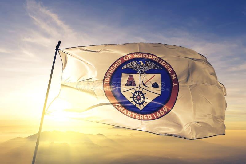 Woodbridge of New Jersey of United States flag waving on the top. Woodbridge of New Jersey of United States flag waving royalty free stock images