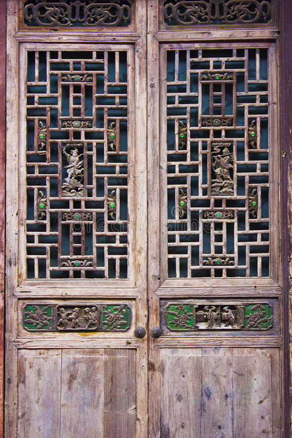 Woodcarving doors and windows stock photography