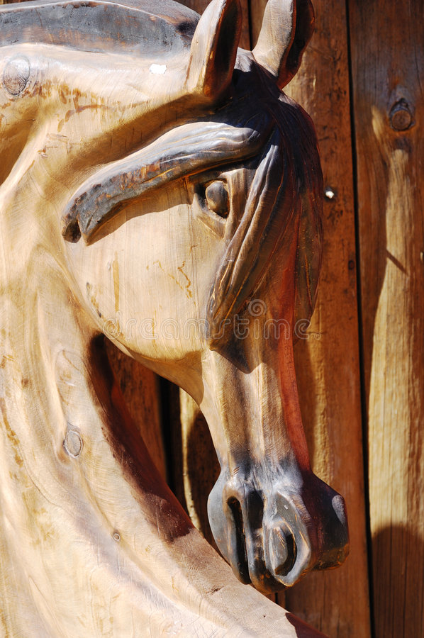 Woodcarving horse head