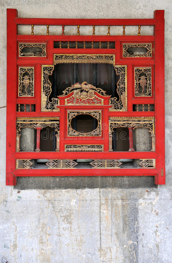 Woodcarving Window In Chinese Traditional Style Stock Photo