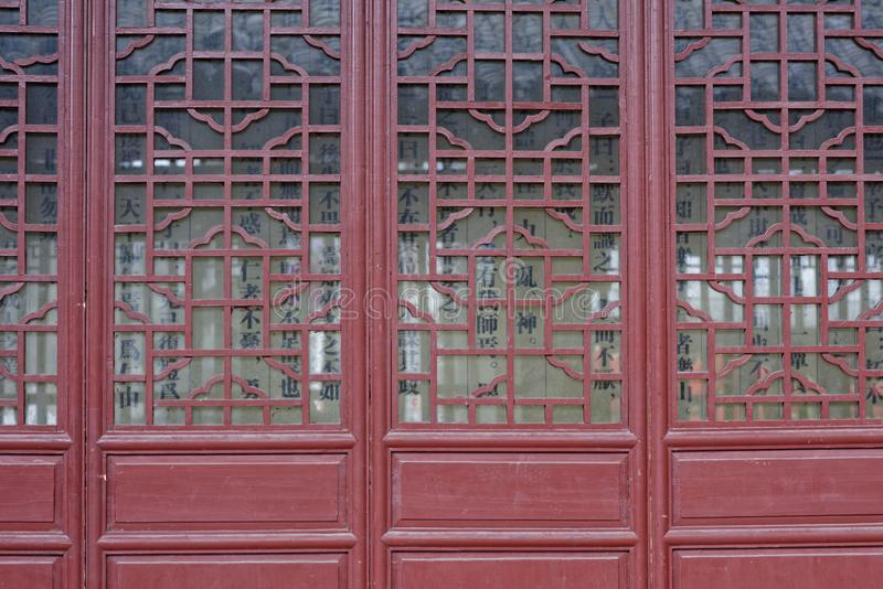 Woodcarvingsvensters royalty-vrije stock foto
