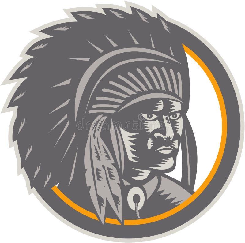 Woodcut головы индийского вождя коренного американца иллюстрация вектора