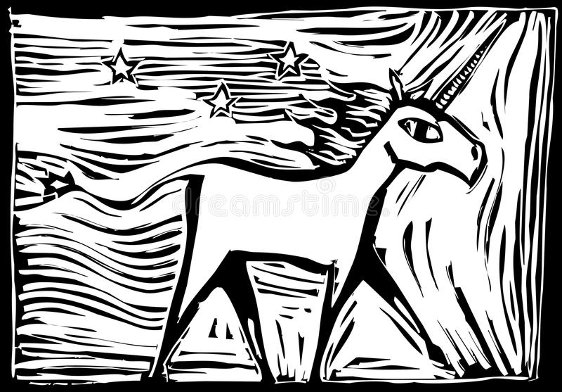 woodcut единорога бесплатная иллюстрация