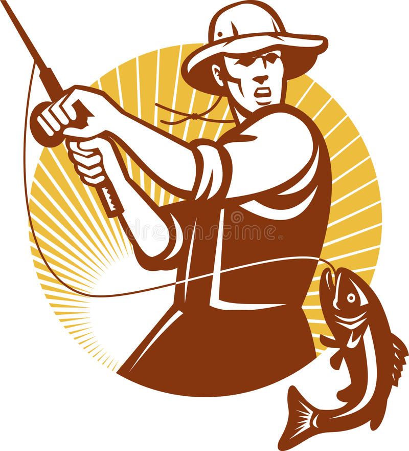 woodcut мухы рыболовства рыболова ретро бесплатная иллюстрация
