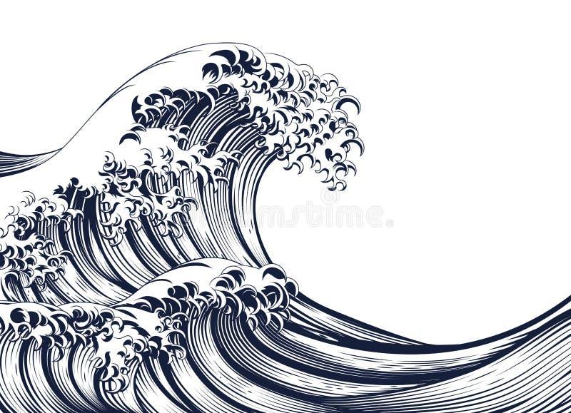 Woodcut стиля большой волны винтажный иллюстрация штока