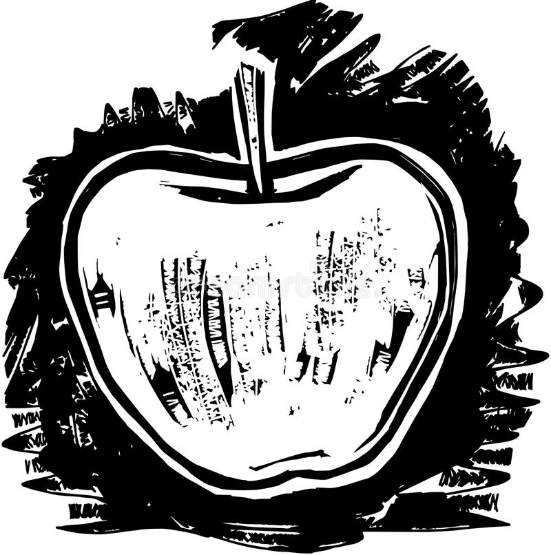 Woodcut Apple royalty ilustracja