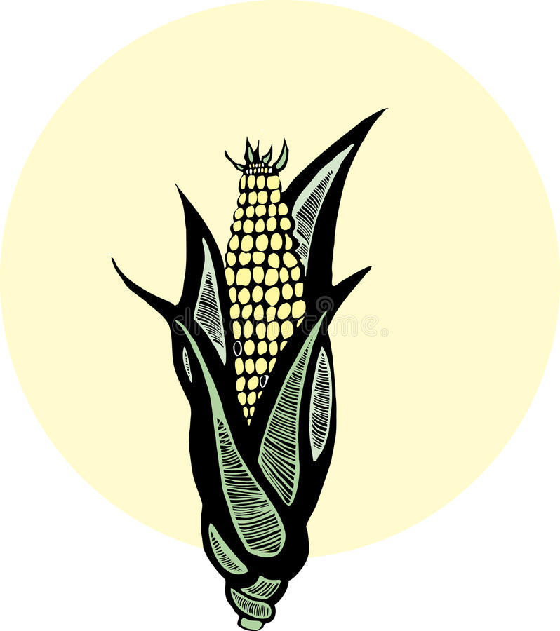 Woodcut Corn royalty free stock images