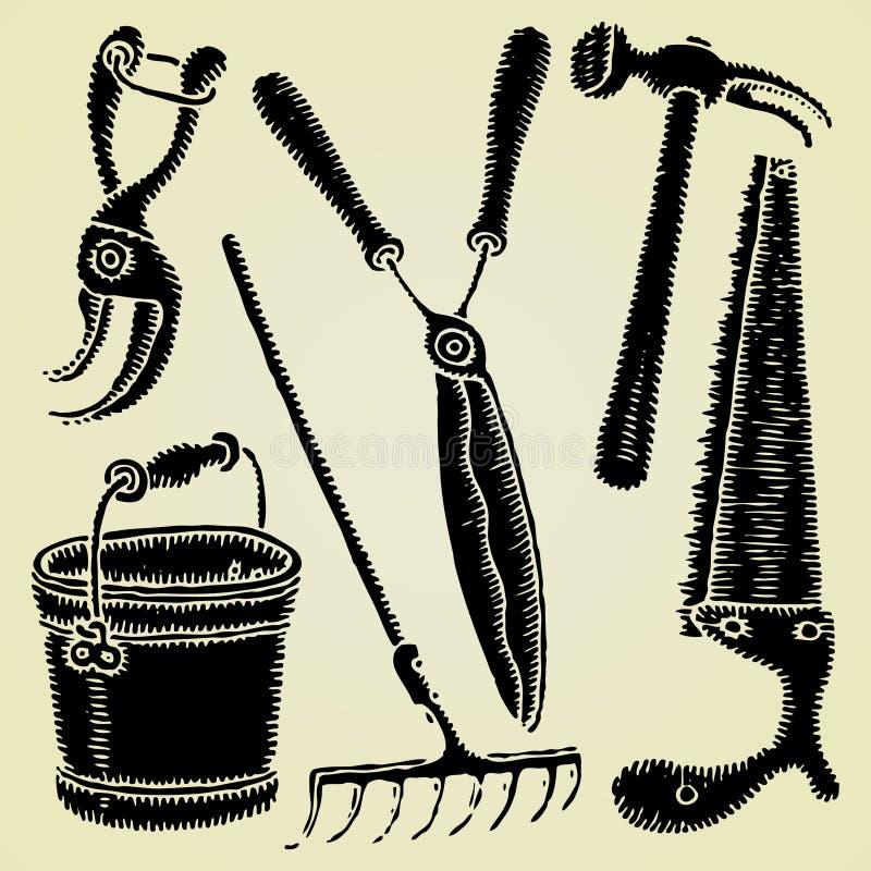 Woodcut do original das ferramentas de jardim ilustração royalty free