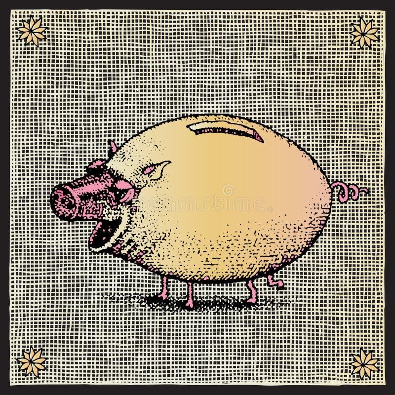 Woodcut do porco ilustração royalty free