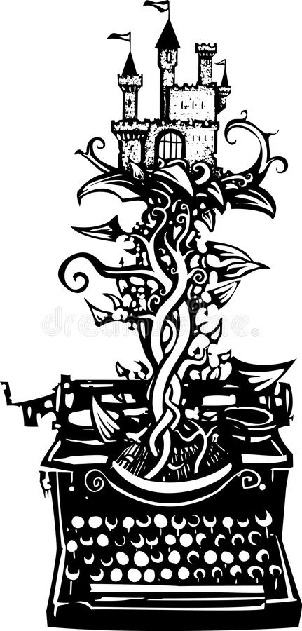 Woodcut fantasy Typewriter. Woodcut style image of a manual typewriter with a castle on a beanstalk growing out of it vector illustration