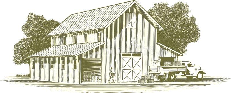 Woodcut Farm Work Scene royalty free illustration