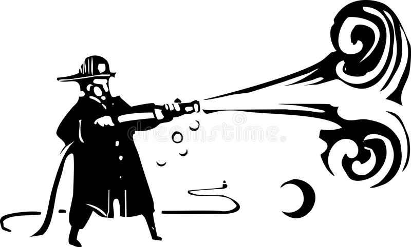 Woodcut Fireman with hose stock illustration