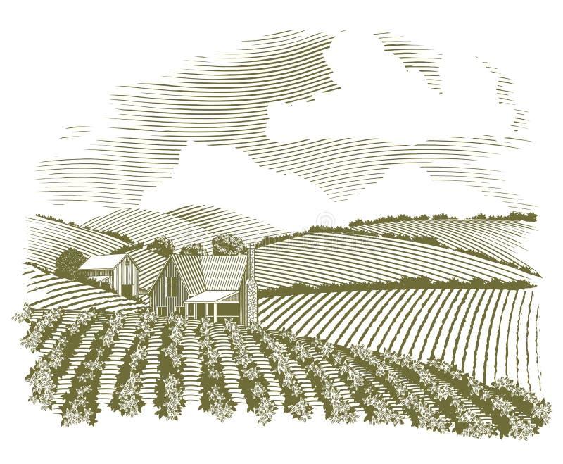 Woodcut gospodarstwa rolnego Wiejski dom royalty ilustracja