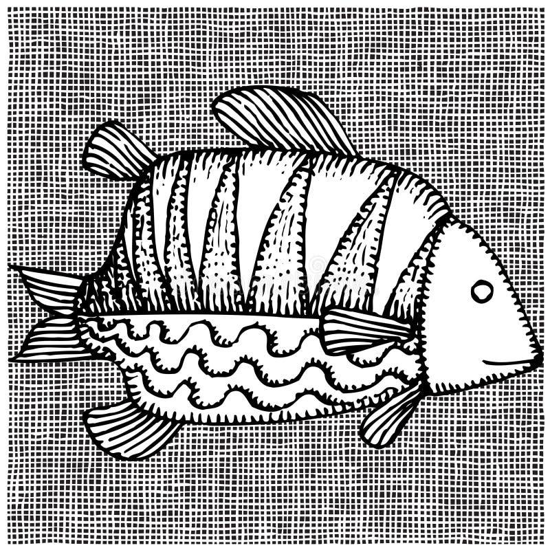 Woodcut grande dos peixes ilustração royalty free