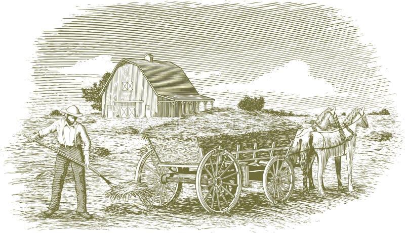 Woodcut Hay Farmer vector illustration