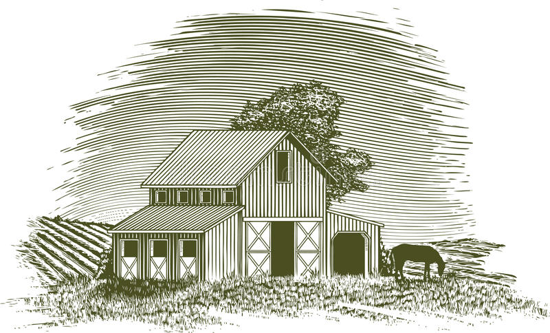 Woodcut Końska stajnia royalty ilustracja