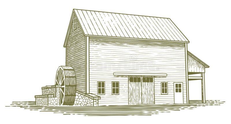 Woodcut Mill Illustration royalty free illustration