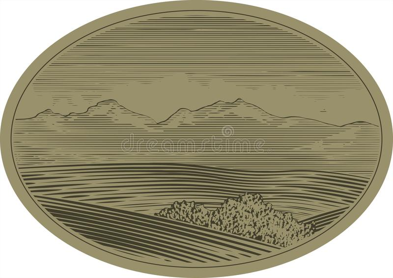 Download WoodCut Mountain Scene stock vector. Image of traditional - 15459963