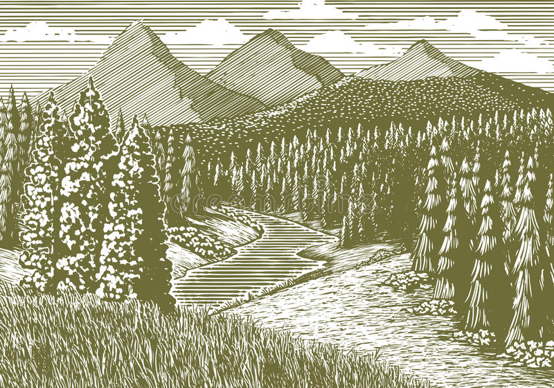 Woodcut Mountain Stream. Woodcut-style illustration of a mountain landscape with a stream running through it stock illustration