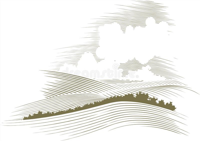 Woodcut Skyscape. Woodcut style illustration of a skyscape