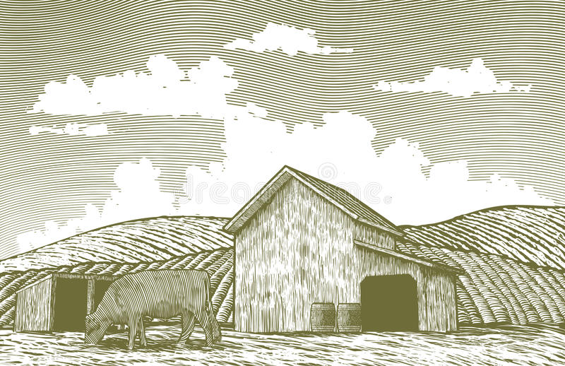 Woodcut stajni jard ilustracja wektor