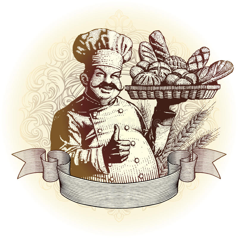 Woodcut style baker with bread vector illustration