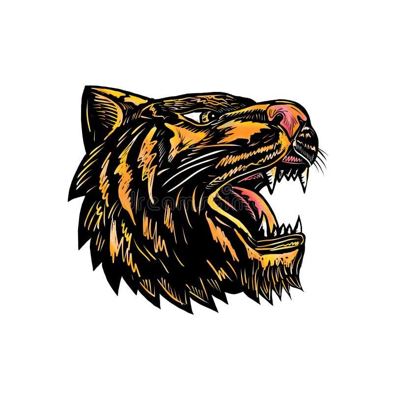 Growling Tiger Woodcut stock illustration