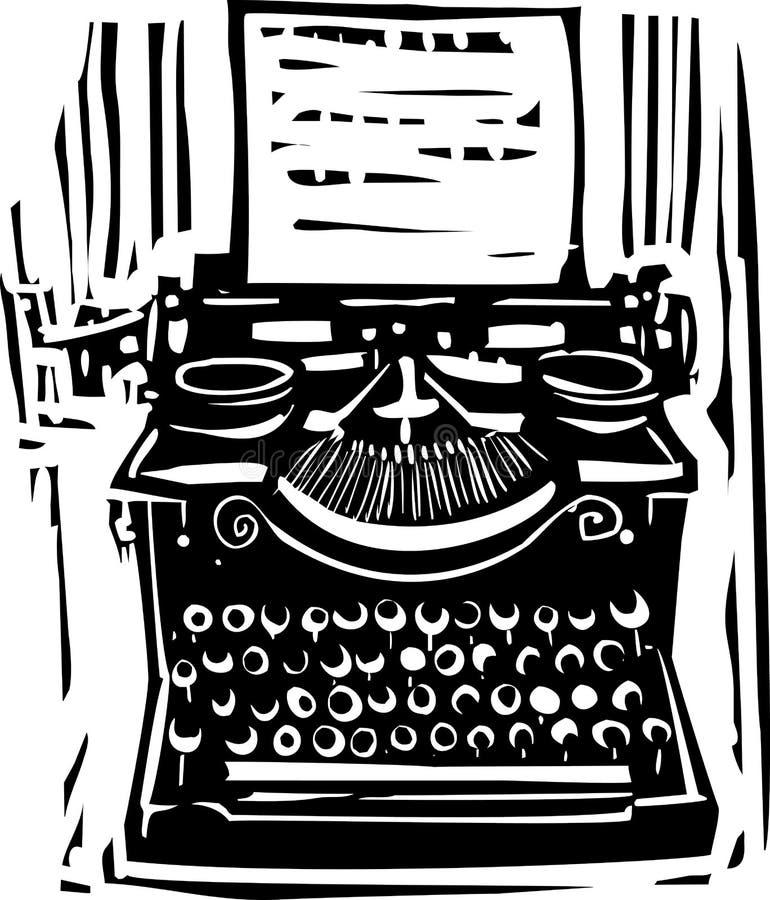 Woodcut Typewriter. Woodcut style image of a manual typewriter vector illustration
