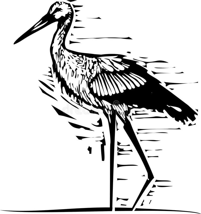 Woodcut wading аист бесплатная иллюстрация